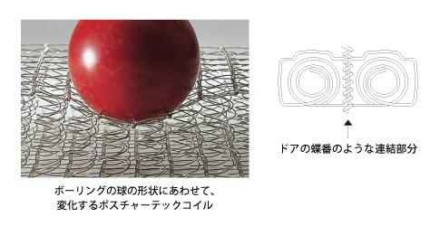 ボーリングの球の形状にあわせて変化するポスチャーテックコイル
