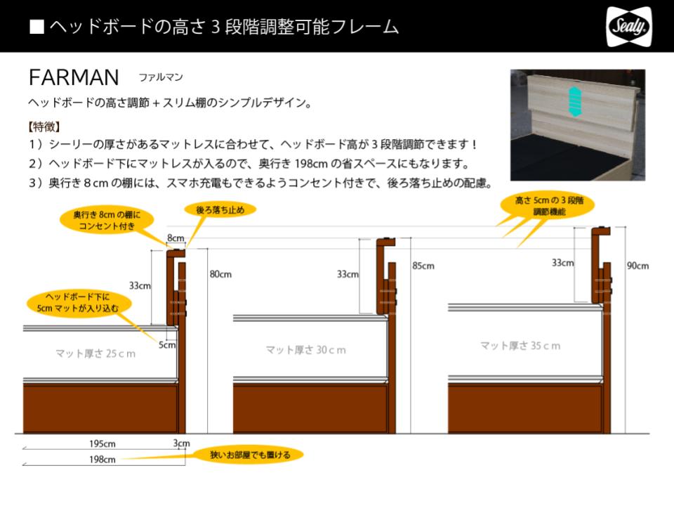 ヘッドボードの高さ3段階調整可能フレーム
